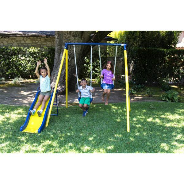 Sportspower Power Play Time Metal Swing Set Outdoor Kids Backyard Slide Playset