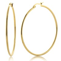 """2"""" Stunning Stainless Steel Yellow Gold Plated Hoop ..."""
