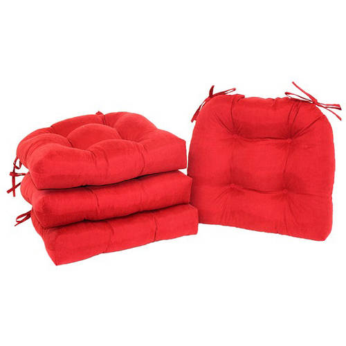 dining chair cushions with ties gaming pc mainstays faux suede pad ties, set of 4, red sedona - walmart.com