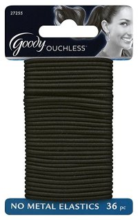 Goody Ouchless Gentle Elastic Ponytail Holders, Black, 36 ...
