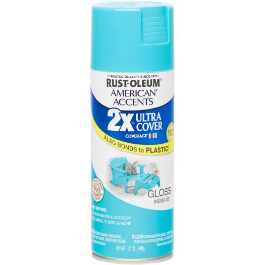 Rust Oleum American Accents Ultra Cover 2x Gloss Seaside Spray Paint And Primer In 1 12 Oz Com