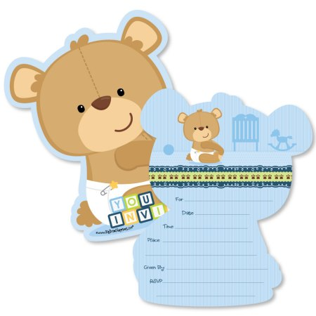 Baby Boy Teddy Bear Shaped Fill In Invitations Shower Invitation Cards With Envelopes Set Of 12