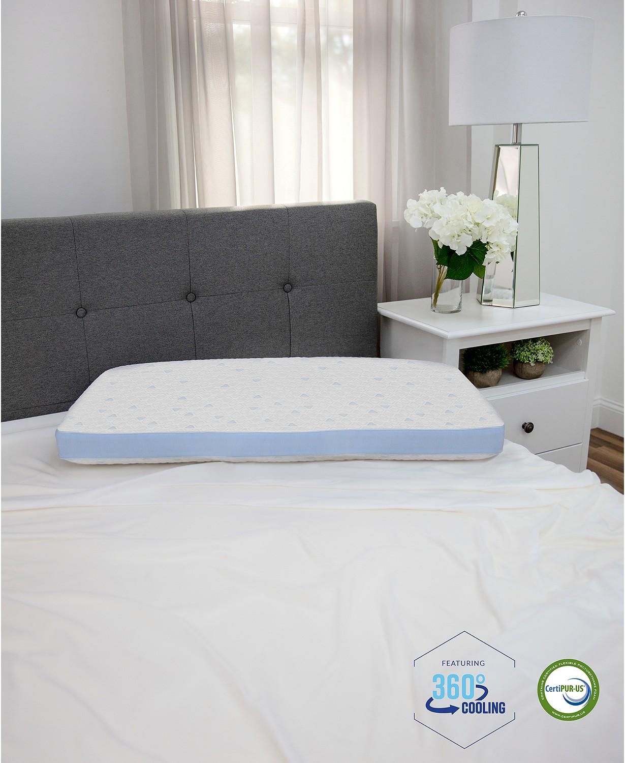 sensorgel cold touch gusseted hypoallergenic memory foam with built in icool system pillow white