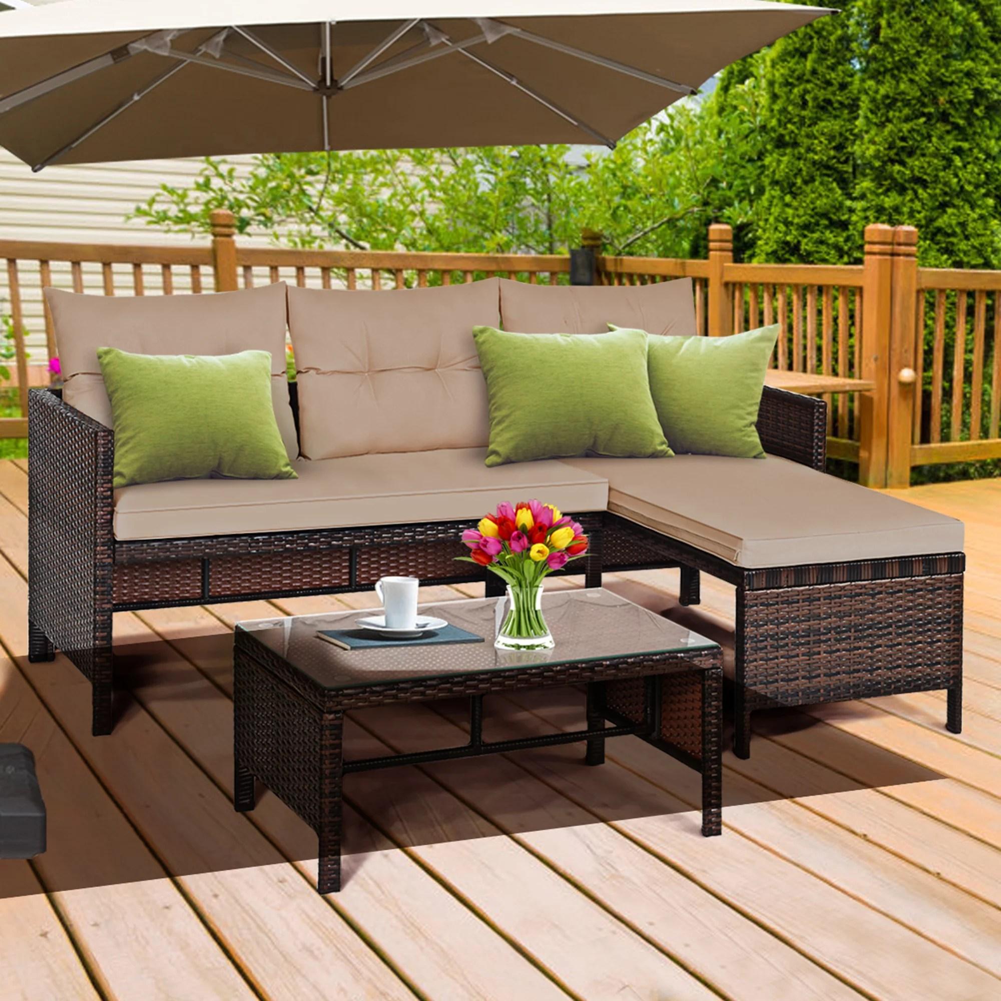 gymax 3pc rattan furniture set outdoor patio couch sofa wicker set walmart com
