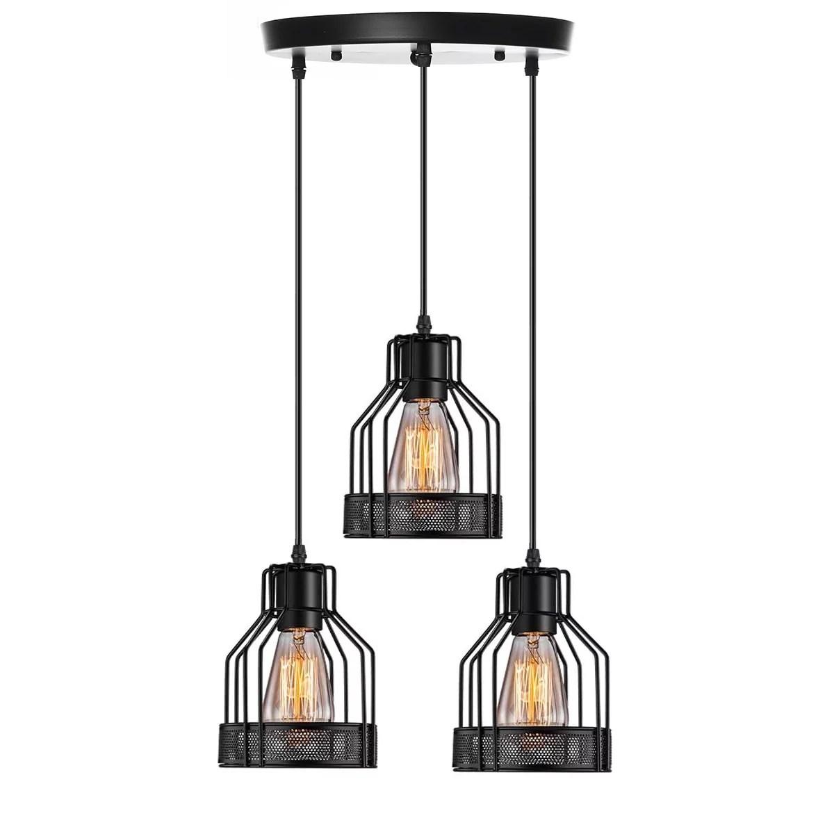 industrial pendant lighting e27 base edison metal caged vintage hanging pendant 3 lights rustic pendant light fixture for kitchen dining room bar