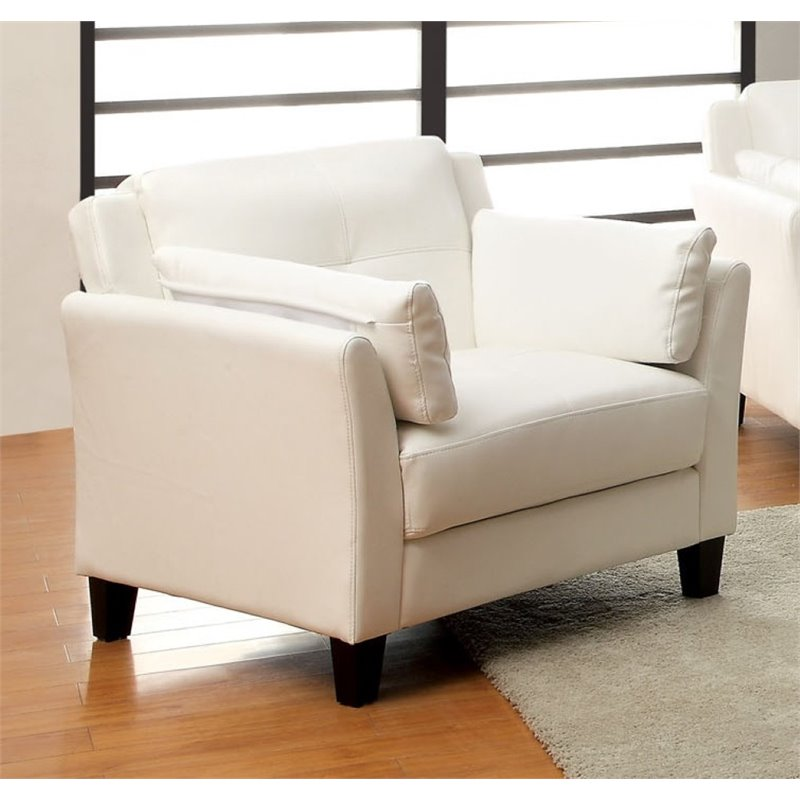 furniture of america tonia faux leather upholstered accent chair in white walmart canada