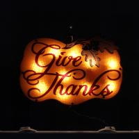 "16"" Lighted ""Give Thanks"" Pumpkin Thanksgiving Window"