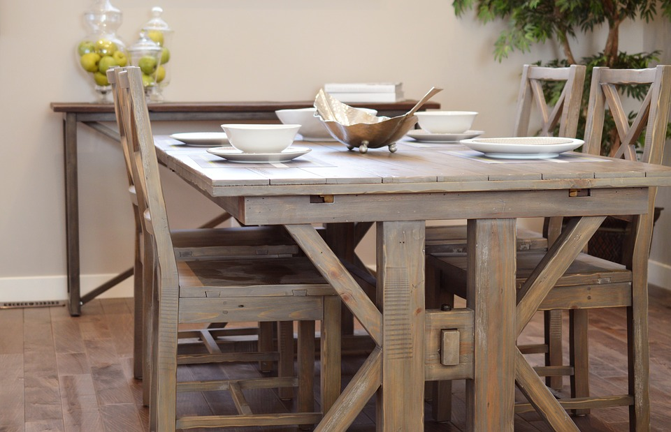 LAMINATED POSTER Wood Dining Chair Table Dining Table