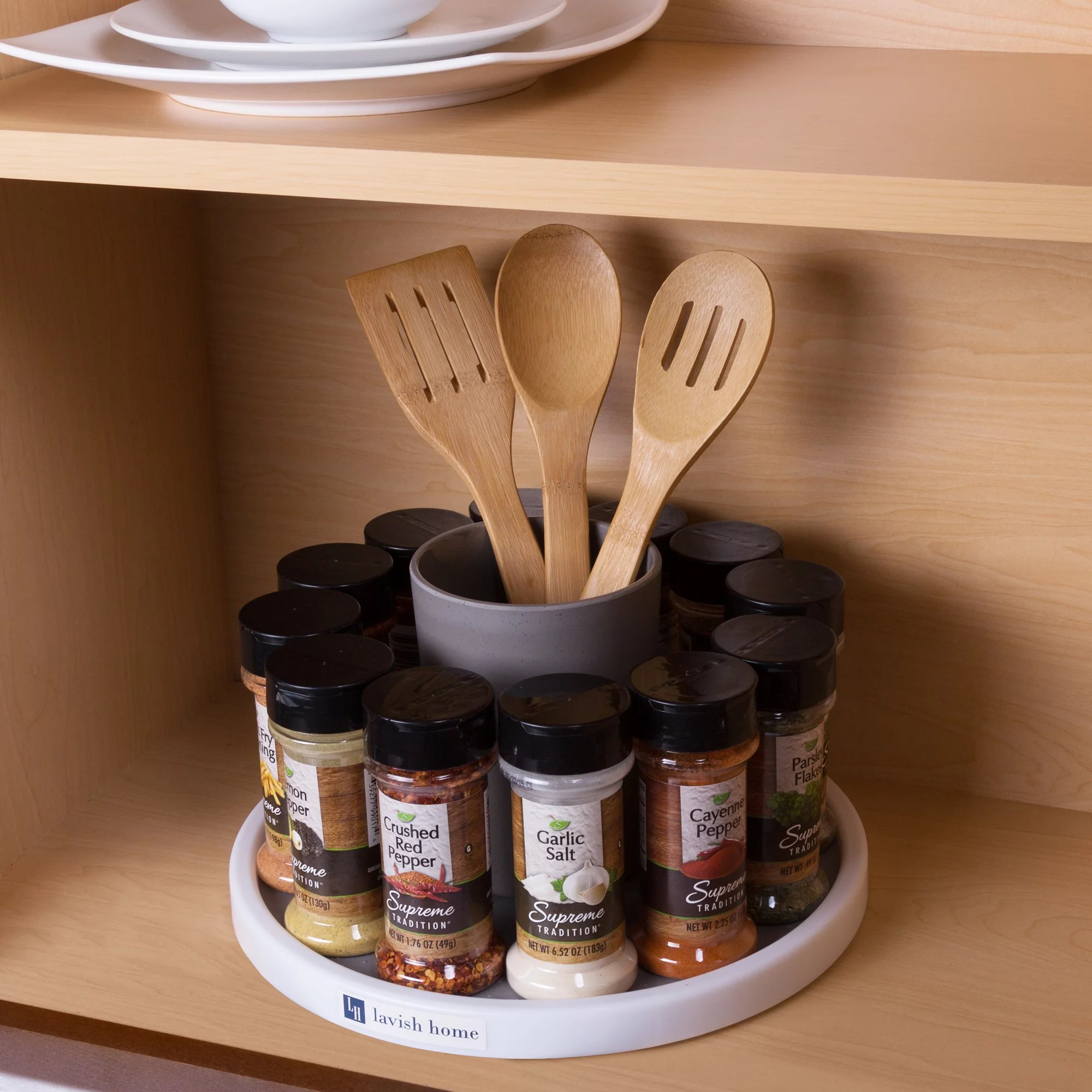 kitchen lazy susan lowes cabinets sale turntable spice rack rotating cabinet shelf and pantry organizer by lavish home