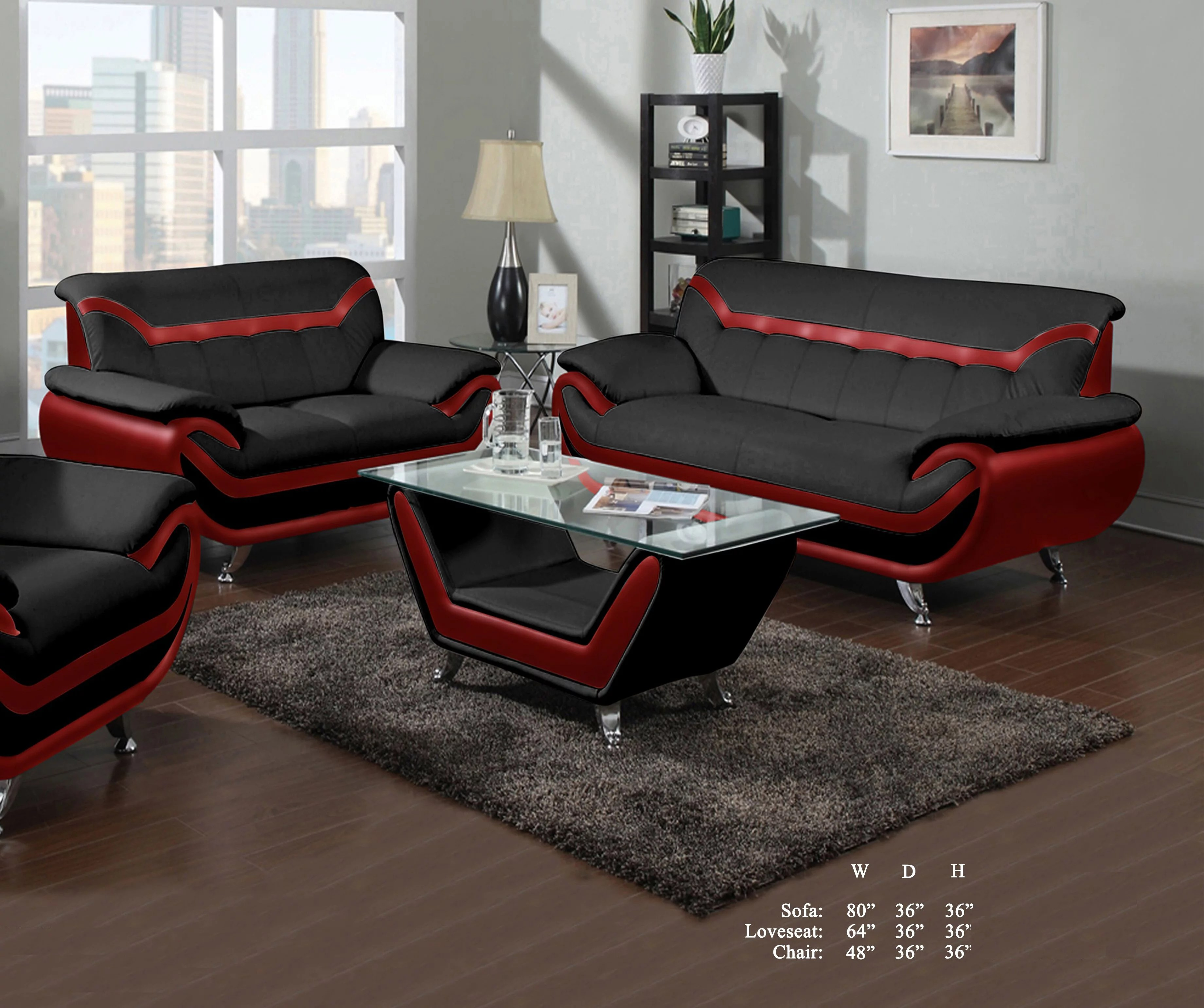 beautiful lovely comfort classic red black bonded leather sofa loveseat 2pc sofa set living room furniture plush couch walmart com