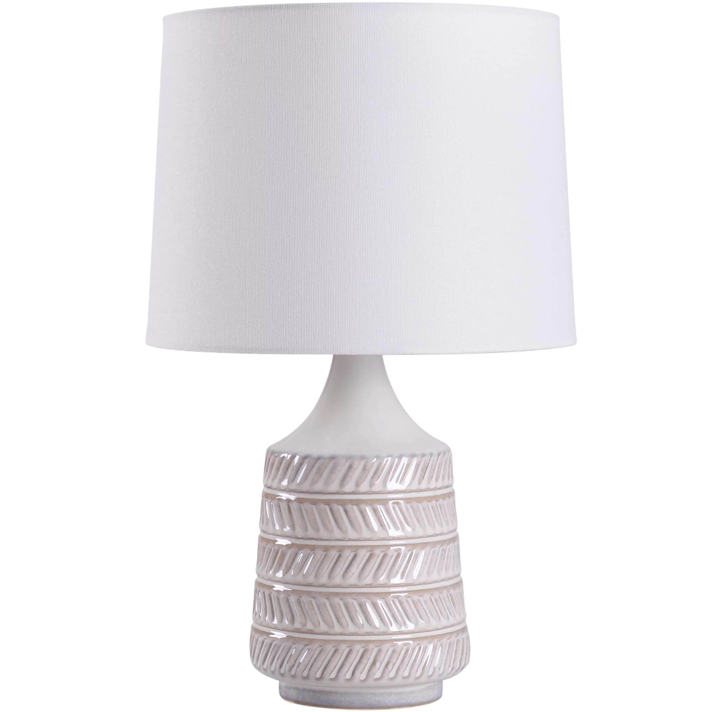 mainstays white beige ceramic table lamp with shade 17 h
