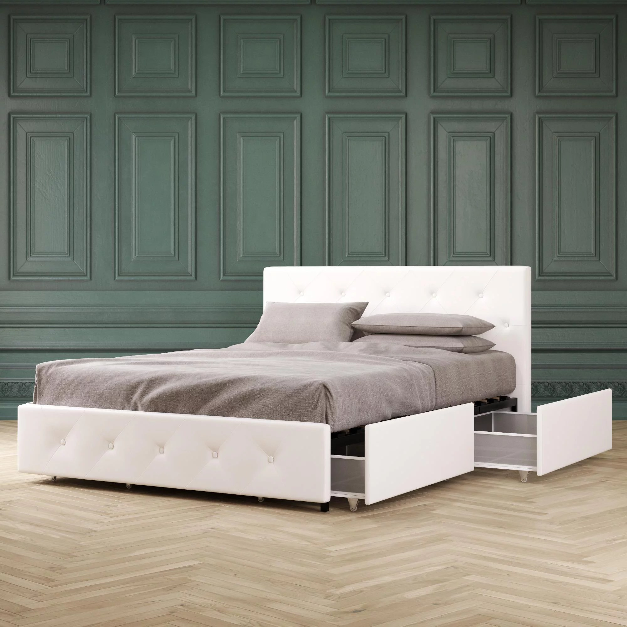 Dhp Dean Upholstered Bed With Storage White Faux Leather Queen Walmart Com Walmart Com