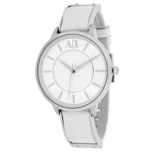 Armani Exchange Women's AX5300 White Leather Analog Quartz Fashion Watch