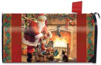 Santa by the Fireplace Magnetic Mailbox Cover Christmas ...