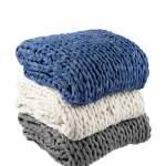 Silver One Super Chunky Knitted Throw Blanket Cream 50 X 60 Walmart Com Walmart Com