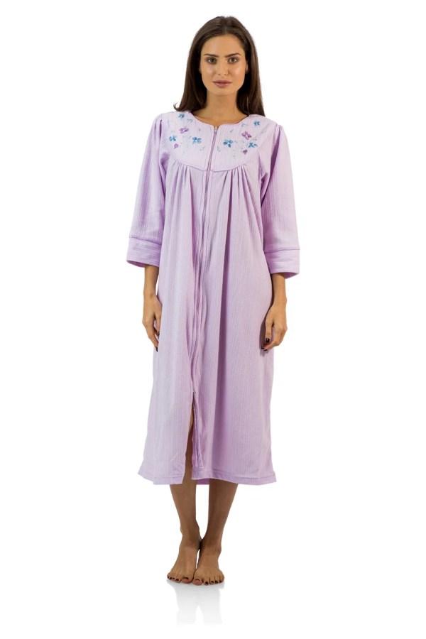 Casual Nights Women' Zipper Front Jacquard Fleece Long