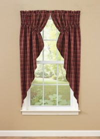Gathered Primitive Country Swag Curtains in Red, Black and ...