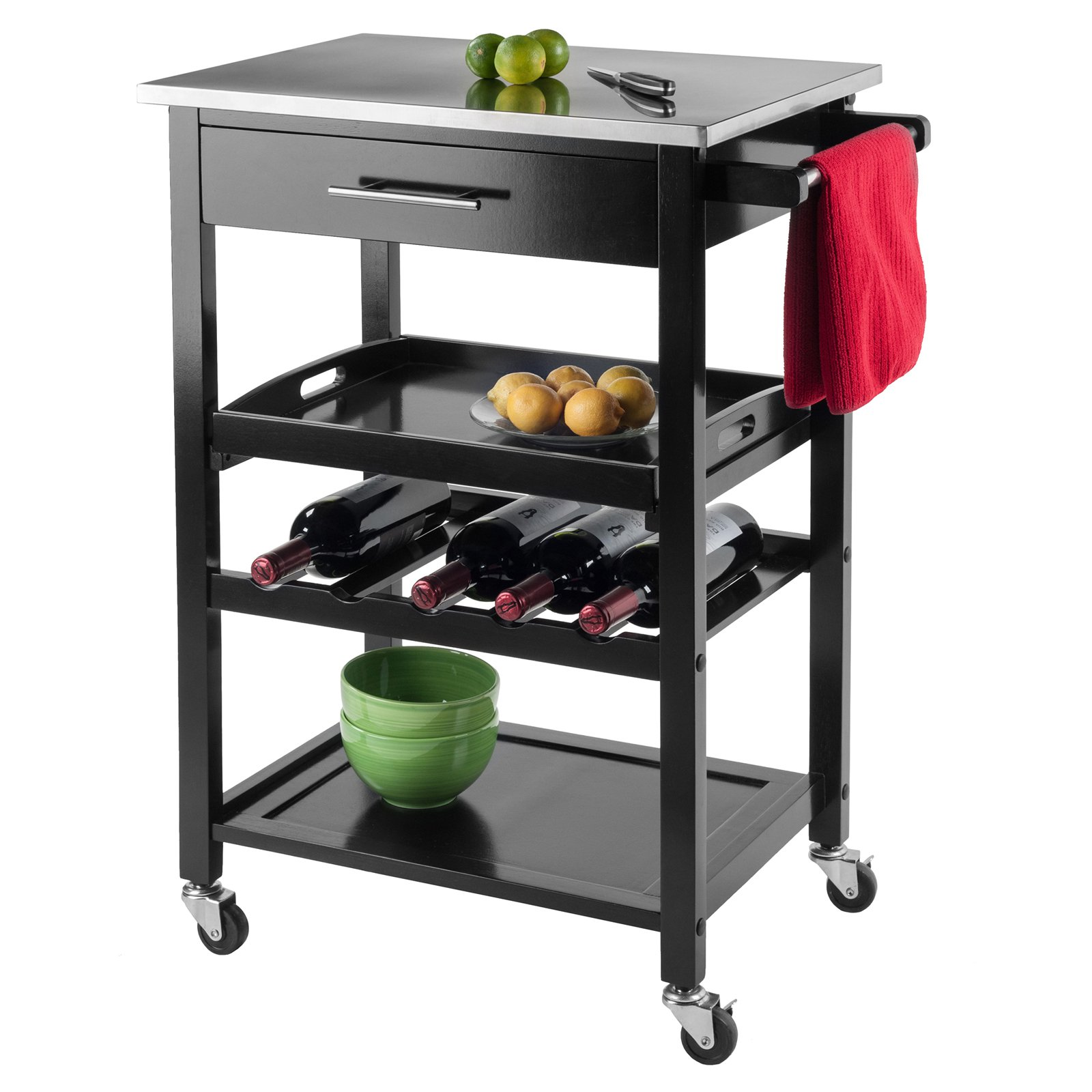 stainless steel kitchen cart countertop choices winsome wood anthony top black walmart com