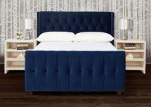 Navy Blue Upholstered Queen Bed