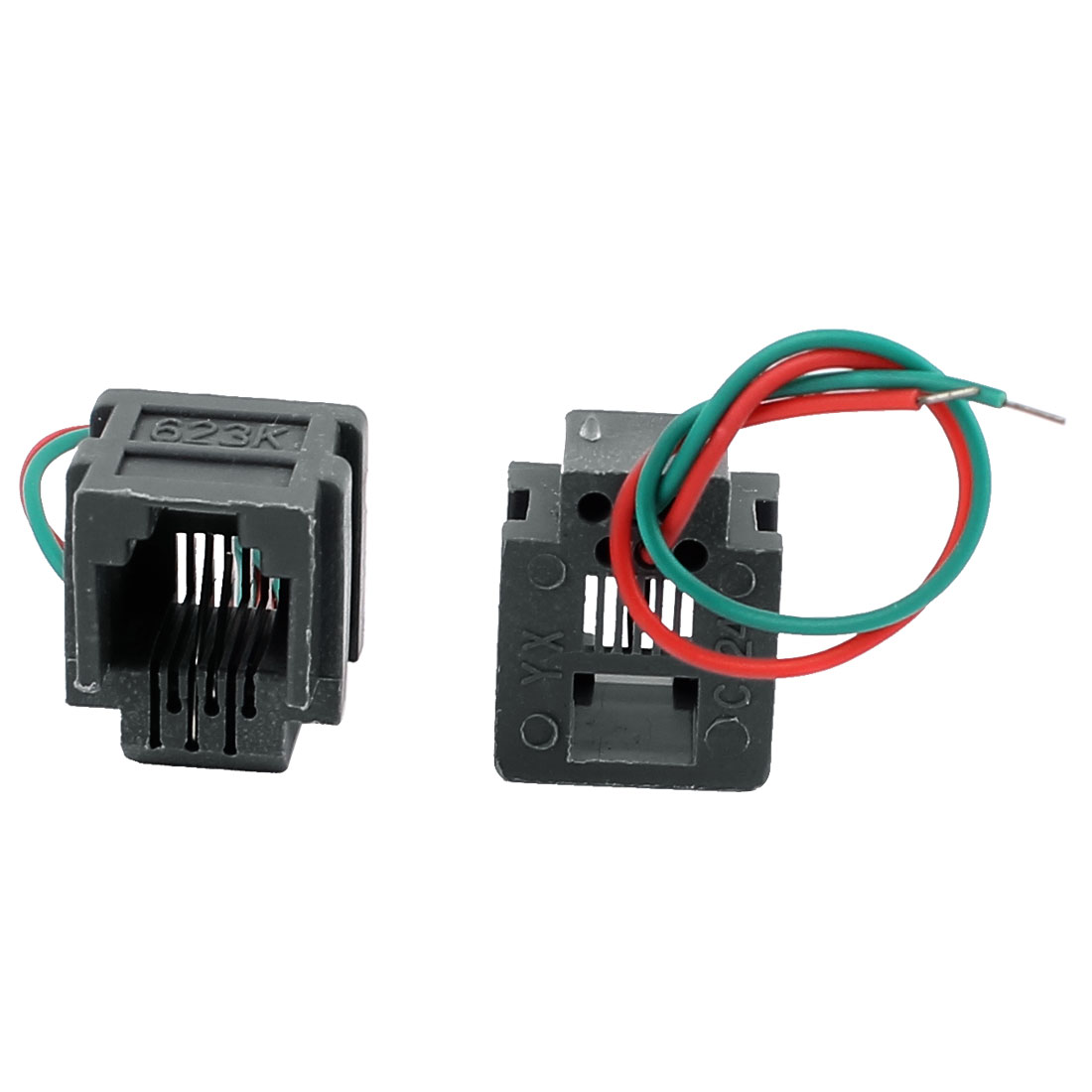hight resolution of 623k 6p2c rj11 female telephone network cable connector w 8cm wires 2pcs