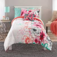 Mainstays Watercolor Floral Bed-in-a-Bag Comforter Set ...