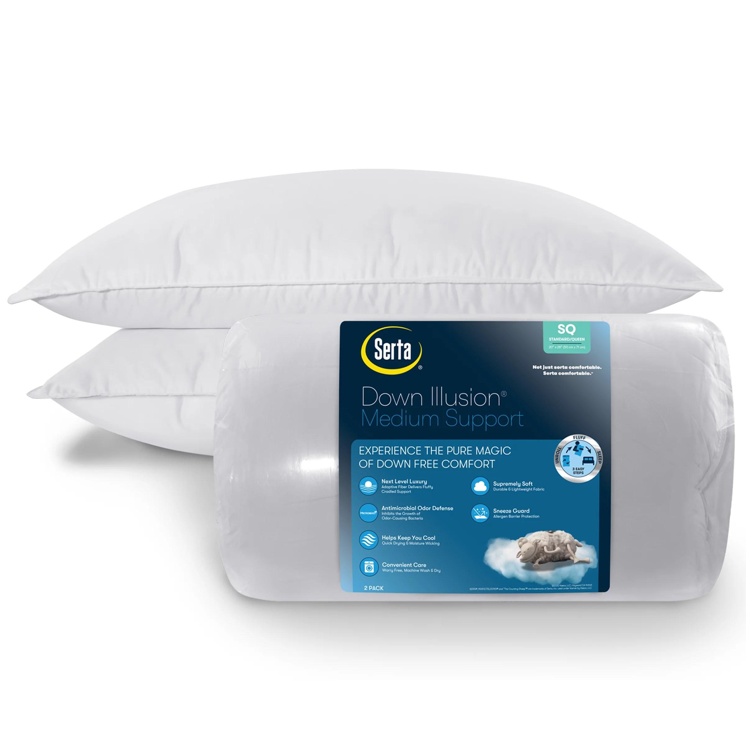 serta down illusion medium density pillow king 2 pack