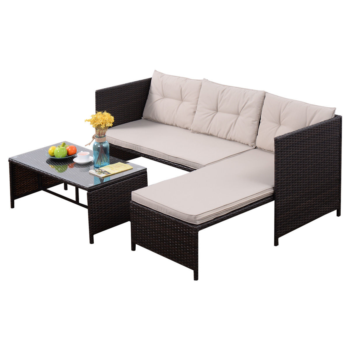 Rattan 3 Piece Sofa Goplus 3 Pcs Outdoor Rattan Furniture Sofa Set Lounge Chaise Cushioned Patio Garden