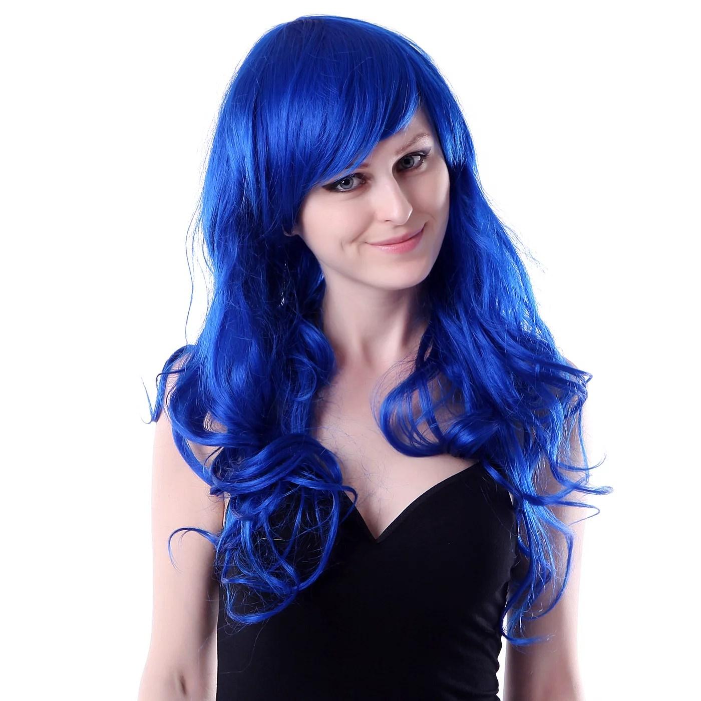 hde womens long wavy wig curly