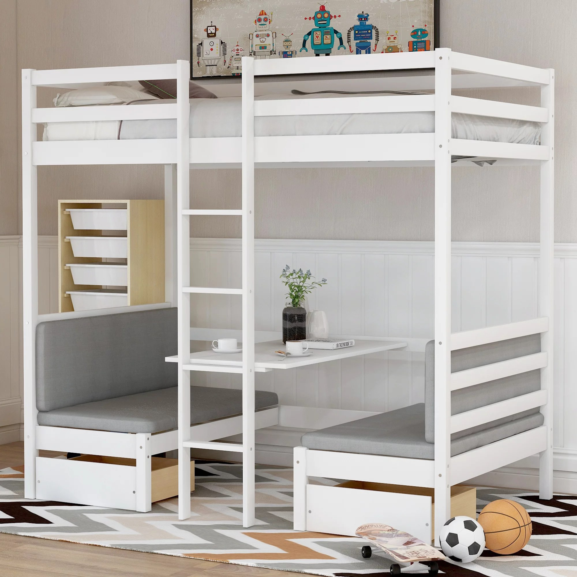 Euroco Adjustable Solid Wood Twin Over Twin Bunk Bed Convertible Loft Bed With Two Drawers Walmart Com Walmart Com