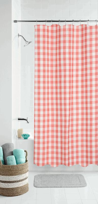 mainstays coral gingham polyester shower curtain 70x72
