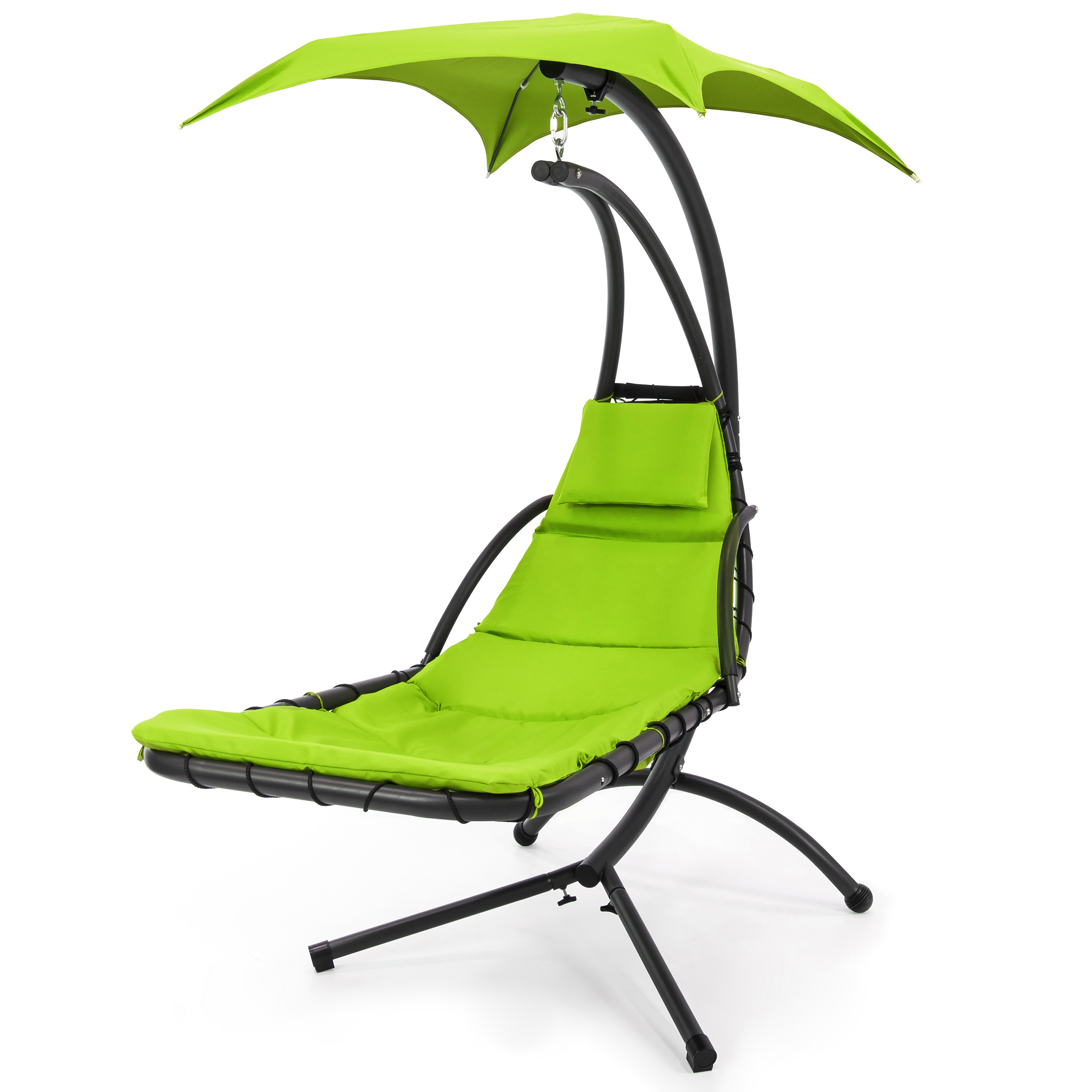 hanging chair swing desk diy best choice products outdoor curved chaise lounge w pillow stand canopy green walmart com