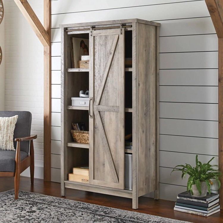 Better Homes Gardens 66 Modern Farmhouse Bookcase Storage Cabinet Rustic Gray Finish Walmart Com Walmart Com
