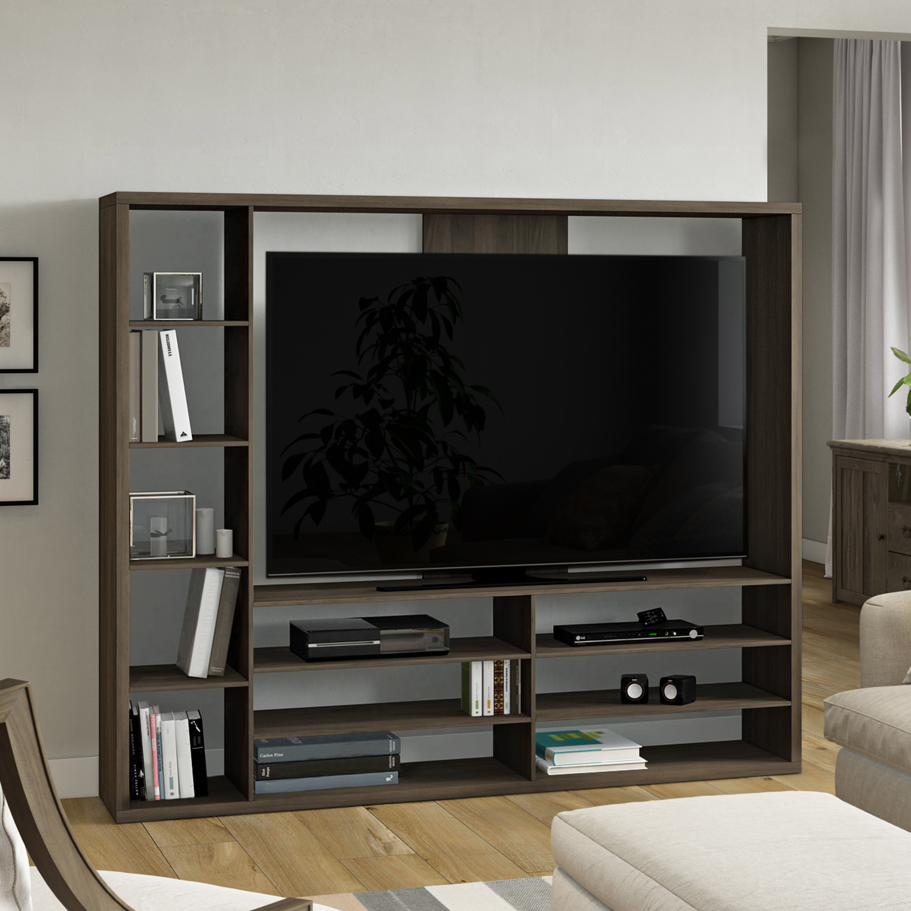 Details About Entertainment Center For Tv Stand 55 W Bookcase Large Open Shelf Media Storage