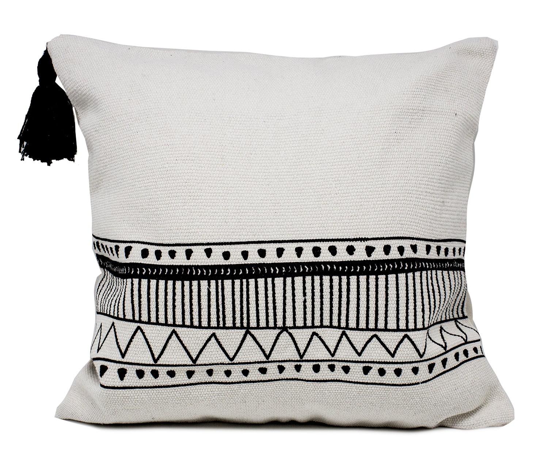 ivory boho tribal textured decorative throw pillow with tassels case insert boho tribal tassels pillow 18 x18 walmart com