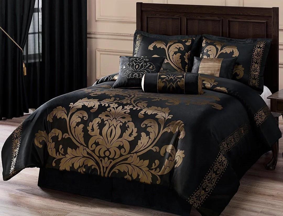 chezmoi collection royale 7 piece jacquard floral comforter set