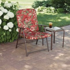 Patio Folding Chairs Padded Tattoo Mainstays Fab Chair Red Floral Walmart Com