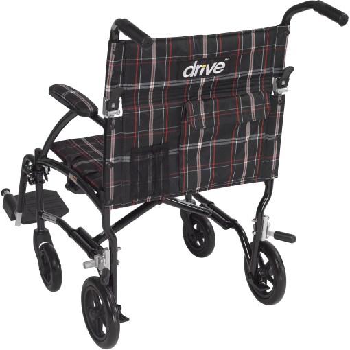 "Kết quả hình ảnh cho Drive Medical Fly Lite Ultra Lightweight Transport Wheelchair, Black Frame, 19"""