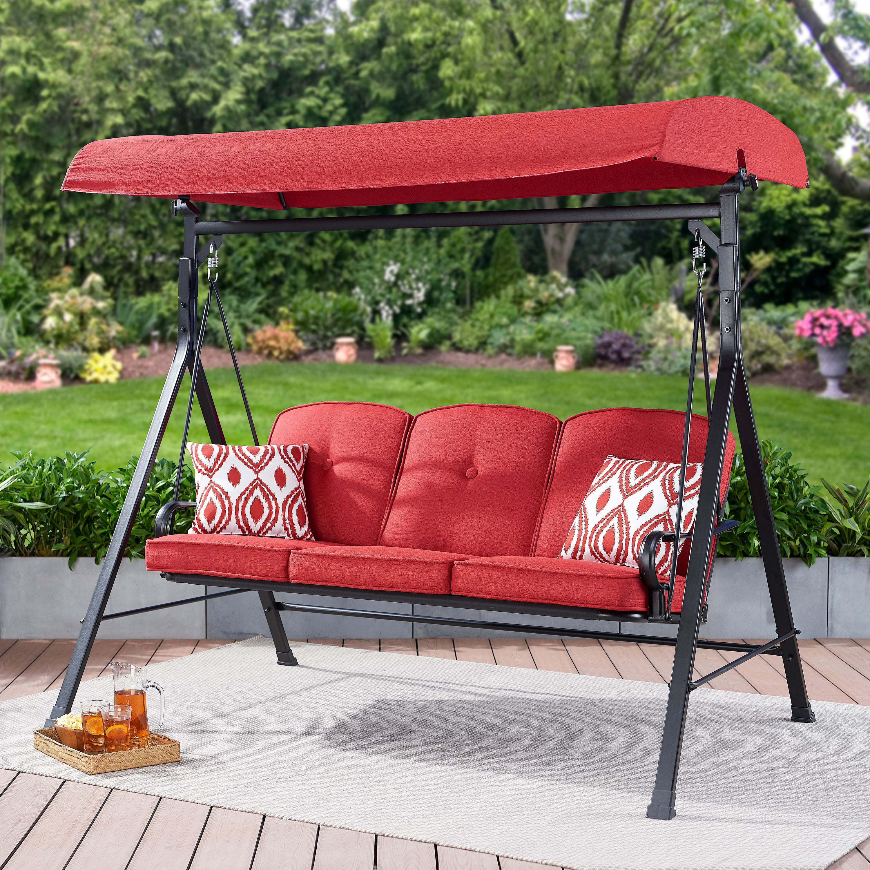 mainstays carson creek outdoor 3 seat porch swing with canopy red walmart com