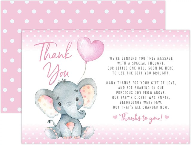Pink Elephant Baby Shower Thank You Cards 18 Count Including