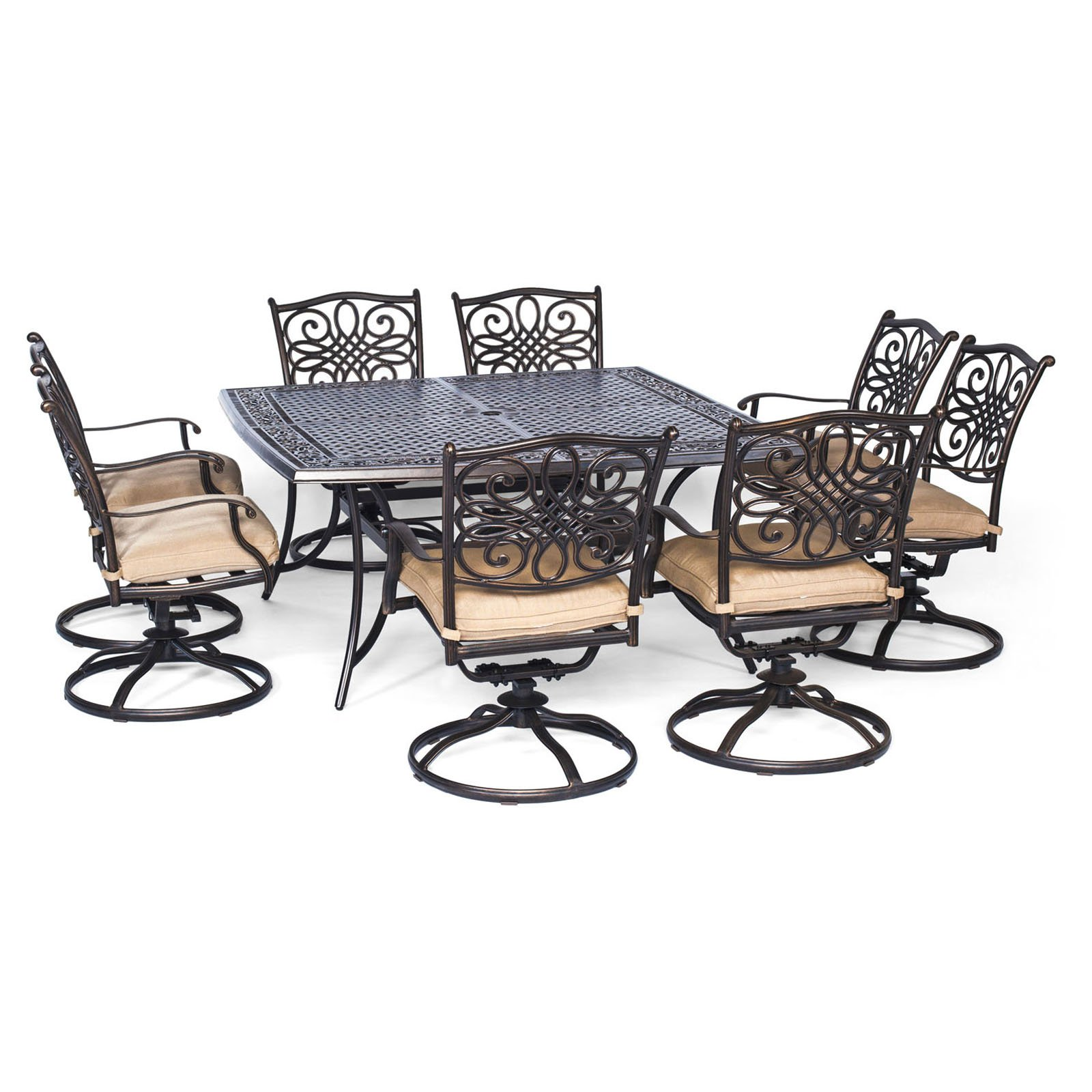 swivel rocker outdoor dining chairs gold chair covers to rent hanover traditions 9 piece set with large square table and 8 rockers natural oat bronze walmart com