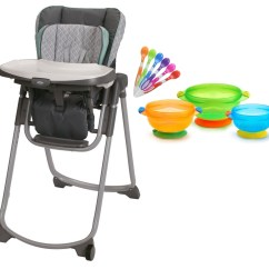 Graco Slim Spaces High Chair Black Modern Dining Chairs With Infant Spoons Suction Feeding Bowls Walmart Com