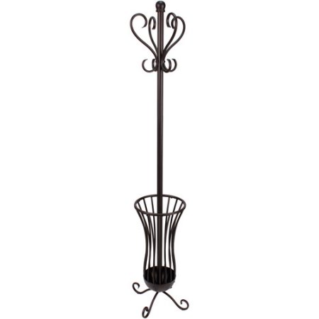 Traditional Metal Coat Rack with Umbrella Stand, Bronze