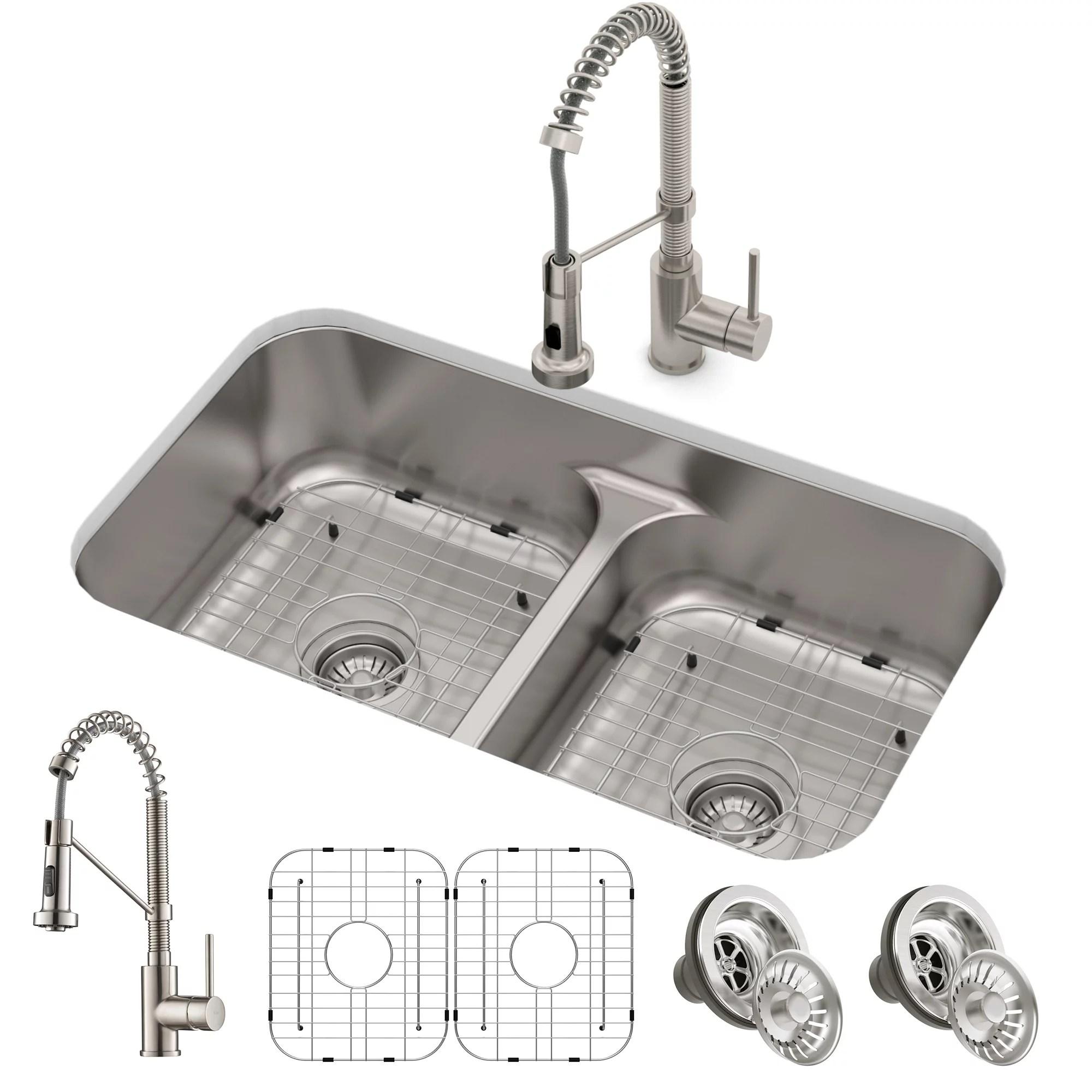https www walmart com ip kraus ellis 33 inch 16 gauge undermount kitchen sink combo set with bolden 18 inch pull down commercial kitchen faucet stainless steel finish 859932992