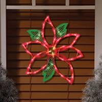 Lighted Poinsettia Window Decoration - Walmart.com