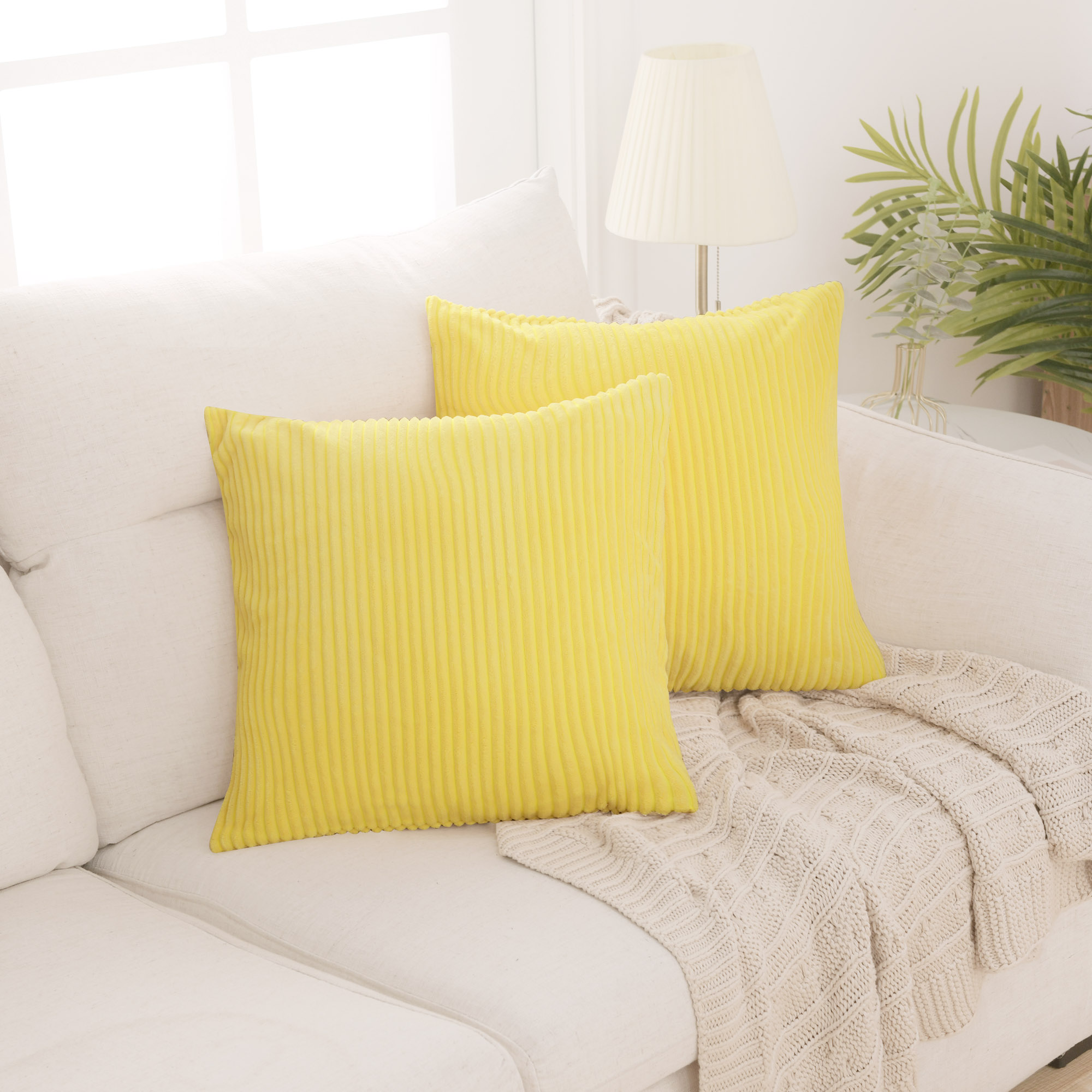 deconovo yellow throw pillow cover solid color corduroy cushion cover stripe pattern set of 2 decorative pillow cases for bedroom living room 24x24 in