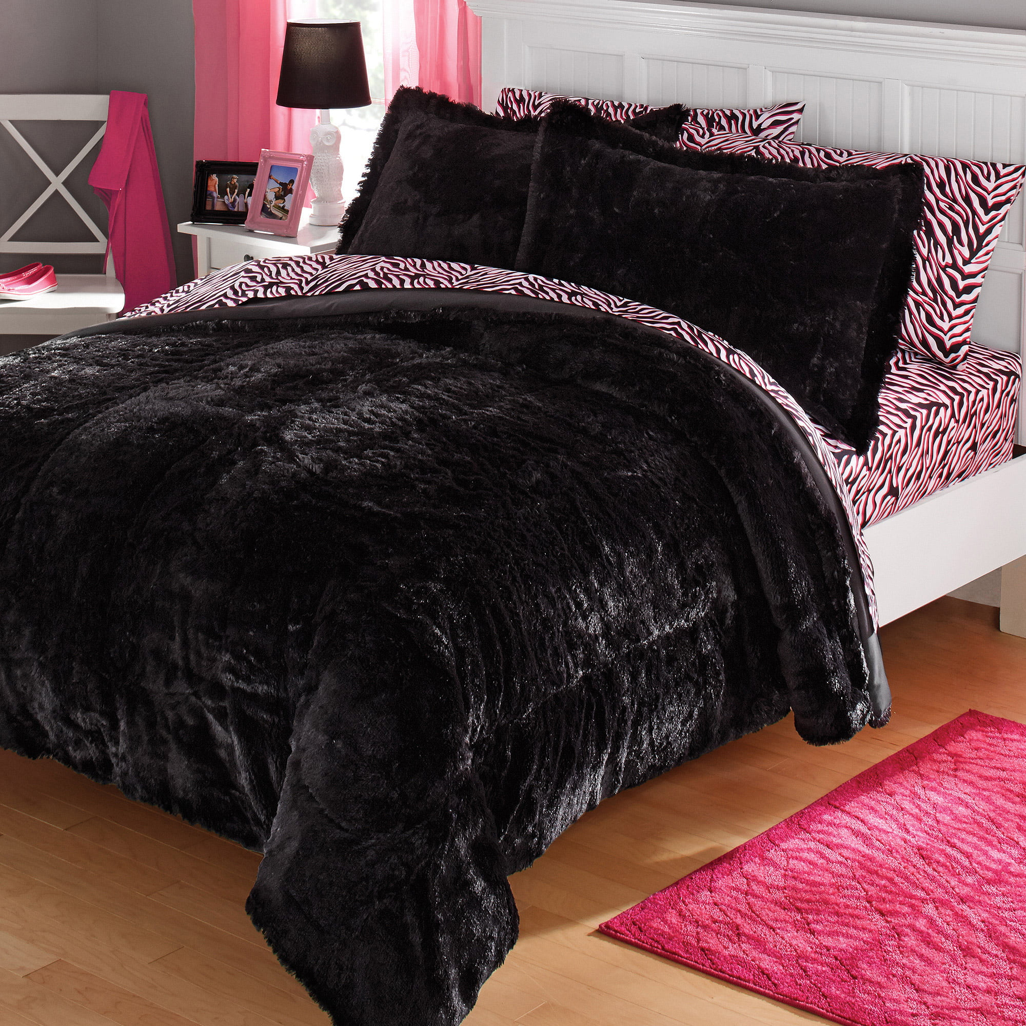 Your Zone Long Fur Bedding Comforter Set 1 Each
