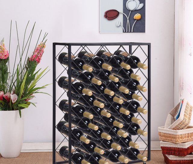 Product Image Gymax 32 Bottle Wine Rack Metal Storage Display Liquor Cabinet W Glass Table Top