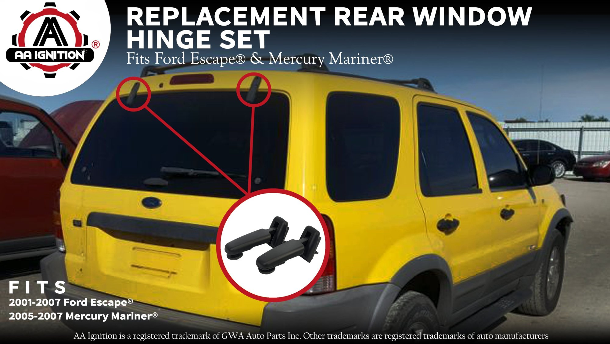 hight resolution of rear window hinge set for ford escape 2001 2002 2003 2004 2005 2006 2007 mercury mariner 2005 2007 replaces yl8z78420a68ba yl8z78420a69ba