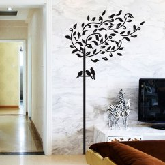 Living Room Tree Tan Sectional Decor Home Birds Pattern Wall Sticker Decal Mural Black 90 X 60cm