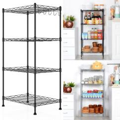Kitchen Wire Rack Rock Backsplash Elecmall Adjustable Height 4 Shelf Shelving Storage Organizer With Side Hooks Walmart Com